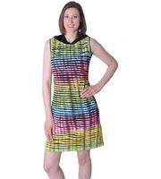 Buntes Hippie Minikleid Tunika mit Kapuze im Cutwork Design - Rainbow Style 001