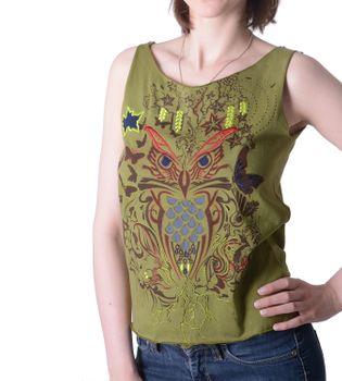 Extravagantes, luftiges Girlie Tank-Top mit Eulenmotiv Sommer Hippie Goa – Bild 6