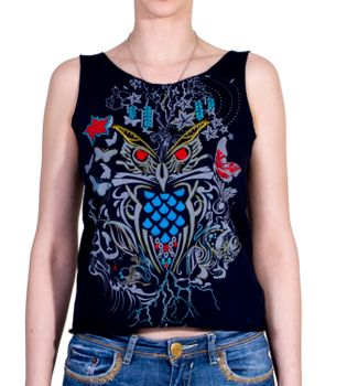 Extravagant, airy Girlie tank top with owl motif Summer Hippie Goa – Bild 1