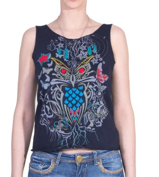 Extravagant, airy Girlie tank top with owl motif Summer Hippie Goa – Bild 3