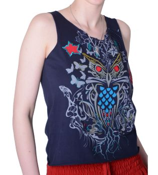 Extravagant, airy Girlie tank top with owl motif Summer Hippie Goa – Bild 4