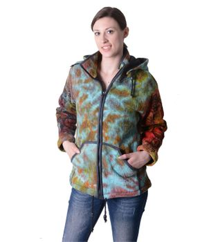 Colorful Women's Knit Jacket Ganesha with Detachable Elfin Hood