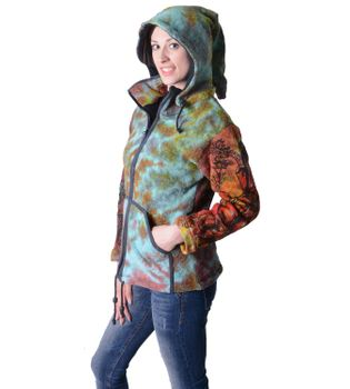 Colorful Women's Knit Jacket Ganesha with Detachable Elfin Hood – Bild 3