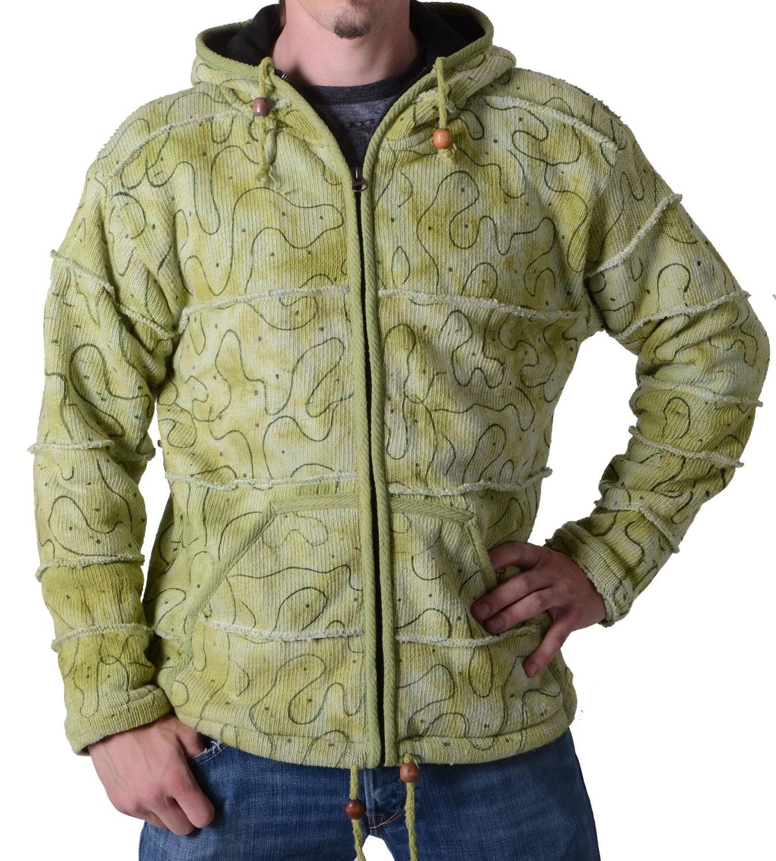 neuer & gebrauchter designer gut aussehend Qualität und Quantität zugesichert Patchwork Goa Herren Strickjacke in Grün mit Kapuze - Hippiejacke