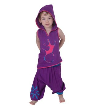 Kunst und Magie Kids Iconic Kids-Shirt with Elfin Hood Gecko Style Hippie Goa – Bild 2
