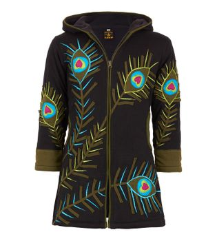 Colorful Hippie Kids Sweat Coat with Peacock Feather Pattern and Elfin Hood – Bild 1