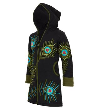 Colorful Hippie Kids Sweat Coat with Peacock Feather Pattern and Elfin Hood – Bild 2