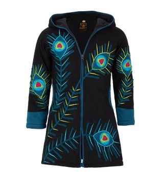 Colorful Hippie Kids Sweat Coat with Peacock Feather Pattern and Elfin Hood – Bild 3