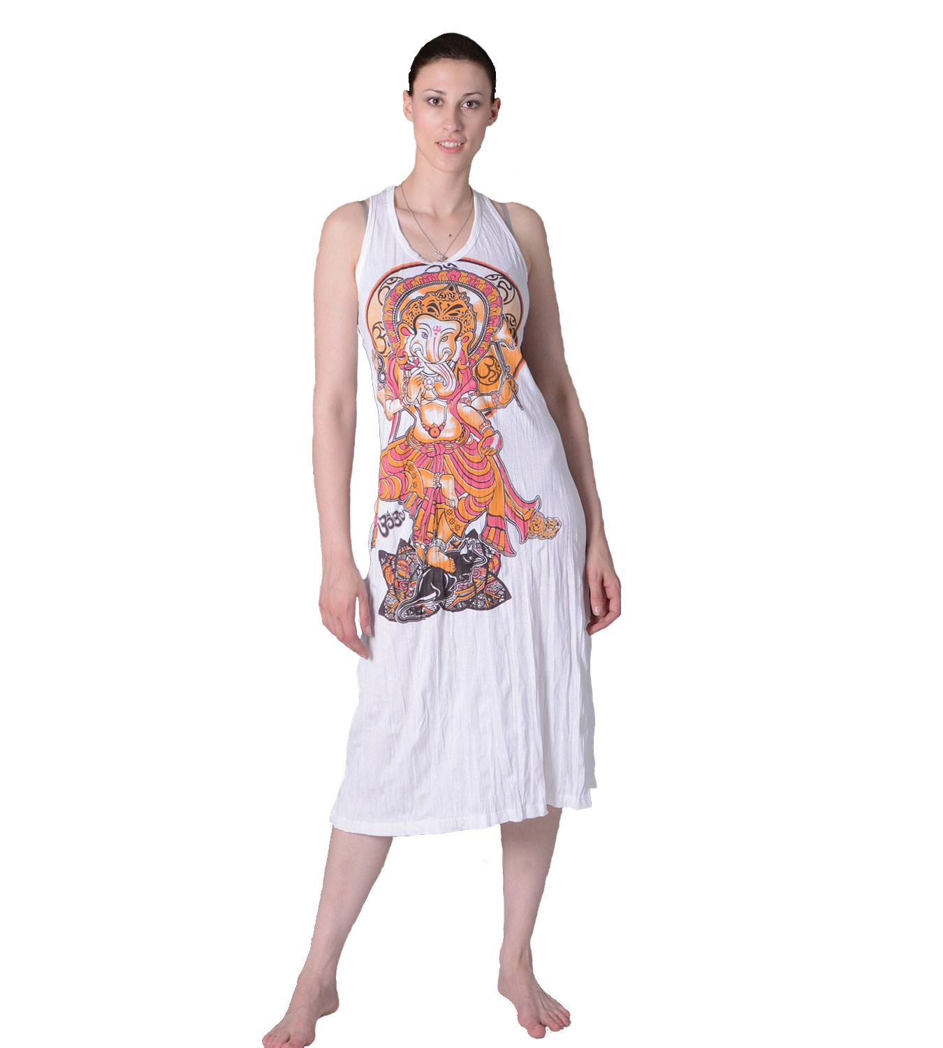 ganesha sommerkleid strandkleid in wei retro hippie 70er t shirt goa sure hippie. Black Bedroom Furniture Sets. Home Design Ideas