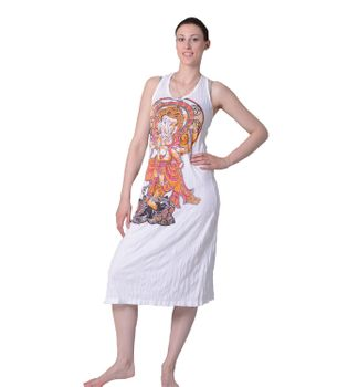 Ganesha Sommerkleid Strandkleid in weiß Retro Hippie 70er T-Shirt Goa Sure Hippie – Bild 2