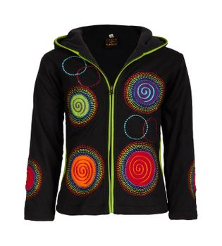 Unique Kids Sweat Jacket with Long Elfin Hood and Colorful Goa Spiral-Circle-Pattern  – Bild 1