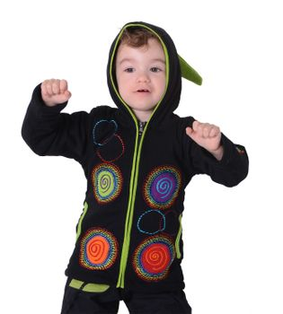 Unique Kids Sweat Jacket with Long Elfin Hood and Colorful Goa Spiral-Circle-Pattern  – Bild 5