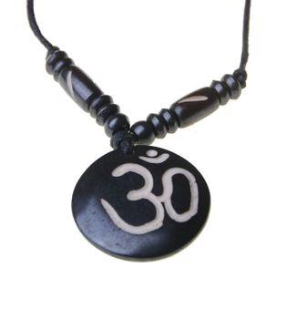 Tibet Om Anhänger aus Yakbone Amulett Yoga ca. 3,5 cm