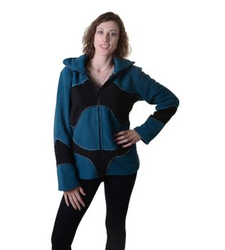 Pretty Fleece Jacket with Fancy Patches and Detachable Elfin Hood – Bild 8