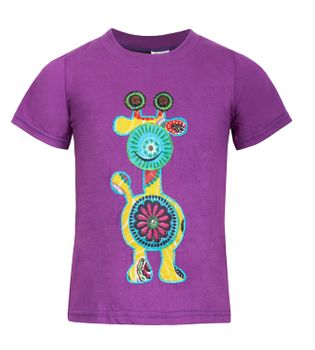 "Farbenfrohes Kids T-Shirt mit Patchwork-Stick ""Giraffe"" Hippie Goa – Bild 1"