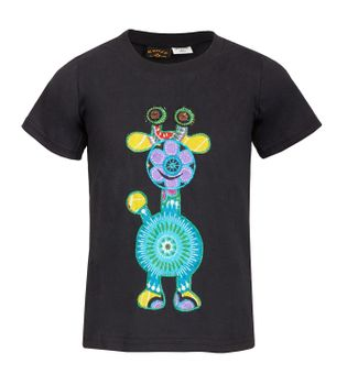 "Colorful Kids-Shirt with Patchwork Embroidered ""Giraffe"" Hippie Goa – Bild 3"