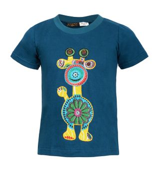 "Farbenfrohes Kids T-Shirt mit Patchwork-Stick ""Giraffe"" Hippie Goa – Bild 2"