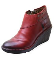70er Retro FLY LONDON SADE Rug Red -  Ankle Boots Stiefeletten Rot 001