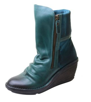 Fly London Damen Biker Boots Simi mit Keilabsatz in Petrol