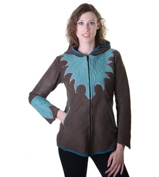 "Women Hippie fleece jacket ""The Tree"" with hood and colorful autumn patterns – Bild 5"