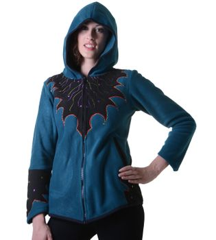 "Women Hippie fleece jacket ""The Tree"" with hood and colorful autumn patterns – Bild 10"