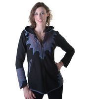 "Damen Hippie Fleecejacke ""The Tree"" mit Kapuze und bunten Herbst-Mustern 001"