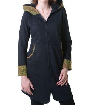 Damenmantel aus Baumwolle in ausgefallenem Design -Fleece Jacke Mantel Hippie Goa Psy