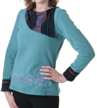 Beautiful Fleece Sweater with Turtleneck Velvet Black/Blue Boho  – Bild 3