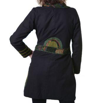 Stylisher Hippie Patchwork-Mantel für Damen aus Baumwolle mit Fleecefutter - Goa Jacke, Mantel – Bild 2