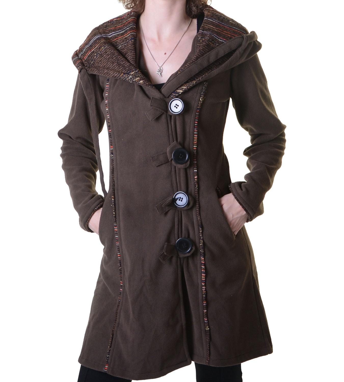 promo code f170a 78876 Fleecemantel in ausgefallenem Design mit Kapuze - Boho Damen Mantel