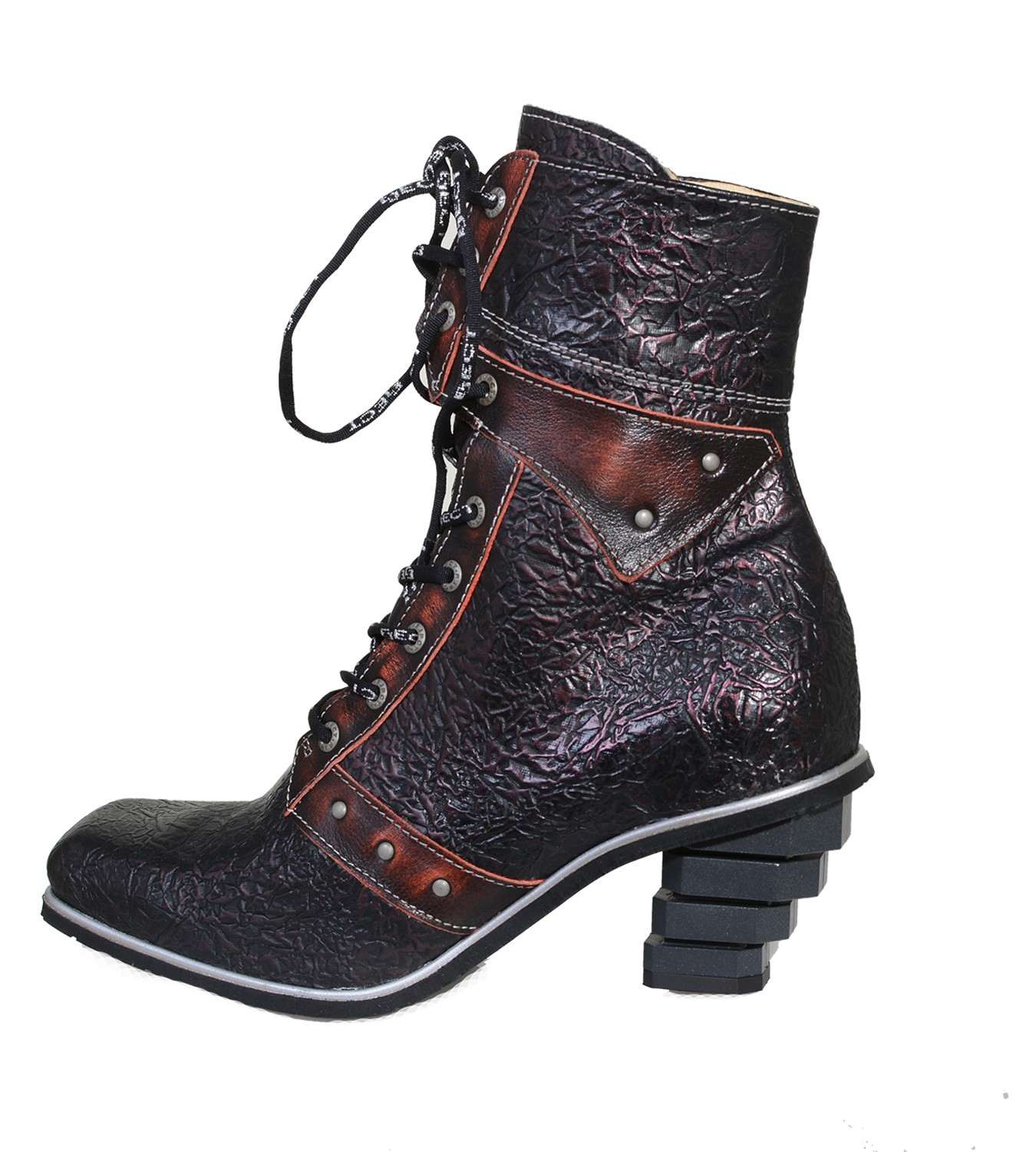 buy popular 0394a 29faa Eject Stiefel - Antik Rote New Square Damen Biker Boots