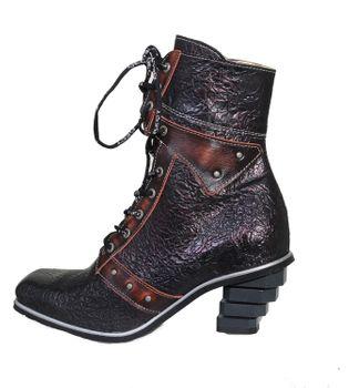 Eject Stiefel - Antik Rote New Square Damen Biker Boots – Bild 2