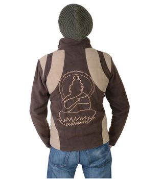 "Extravagant Fleece Jacket ""Buddha"" in a Unique Design Goa Psy Hippie – Bild 5"