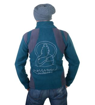 "Extravagant Fleece Jacket ""Buddha"" in a Unique Design Goa Psy Hippie – Bild 3"