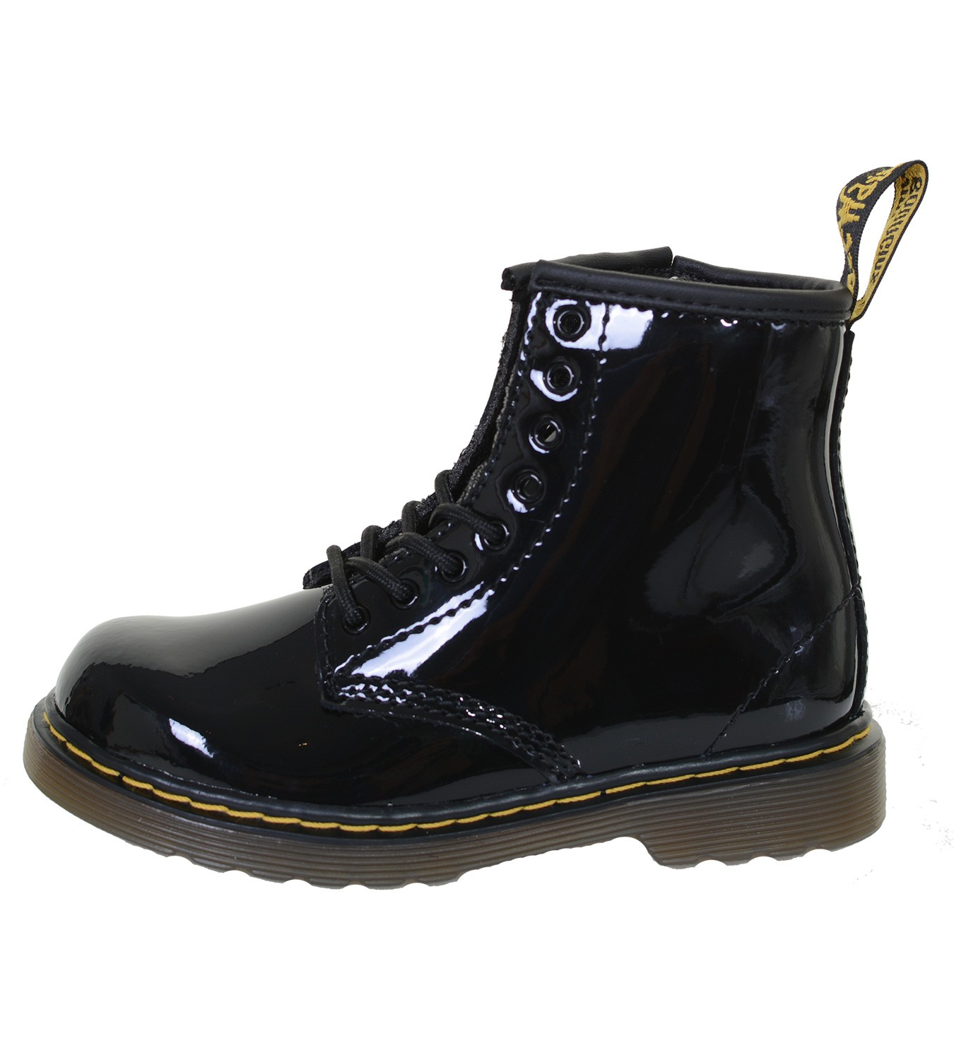 Details about Children Dr.Martens 8 Hole Boat Lace Up Boots Patent Patent Lamper Black