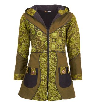Kunst und Magie Women Coat with Hood Flower Pattern - Jacket Cotton – Bild 1