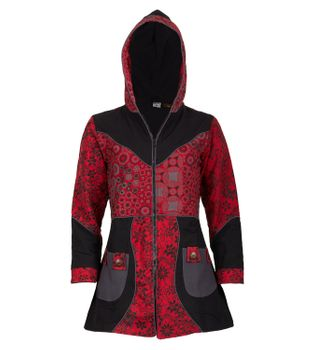 Kunst und Magie Women Coat with Hood Flower Pattern - Jacket Cotton – Bild 7