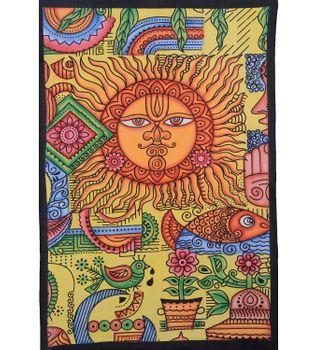 Tagesdecke Wandbehang Sonne-Natur Tuch orange ca. 200 x 140 cm