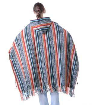 Fancy Cape Poncho with Aztec Pattern in Fall Colors – Bild 2