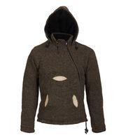 Kunst und Magie Herren Kapuzen Pullover Strickjacke aus Schurwolle mit Fleecefutter 001