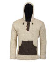 Kunst und Magie Strickpullover Kapuze Wollpullover Nepal Baja für Herren 001