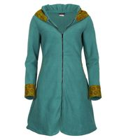 Women's Fleece Mantel Coat Jacket with Hood Goa Psy Hippie Boho Extravagant