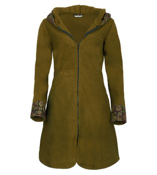 Women's Fleece Mantel Coat Jacket with Hood Goa Psy Hippie Boho Extravagant – Bild 3