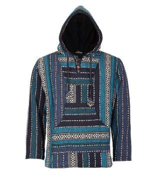 Kunst und Magie Nepal Baja Jerga Sweatshirt Poncho mit Fleecefutter Kapuze – Bild 2