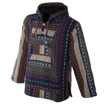 Kunst und Magie Nepal Baja Jerga Sweatshirt Poncho mit Fleecefutter Kapuze – Bild 22