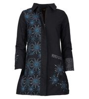 Womens Coat with Hood Flower Pattern - Jacket Cotton
