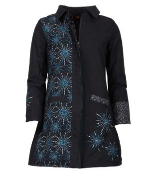 Womens Coat with Hood Flower Pattern - Jacket Cotton – Bild 1