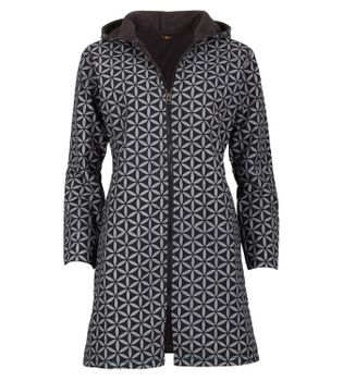 Women's Coat with Hood Flower Pattern - Jacket Cotton – Bild 1