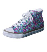 Break & Walk Sneakers with Platform Sole White Flower 001