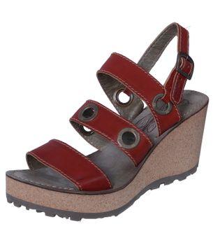 Fly London Guse Damen Sandalette mit Keilabsatz und Plateausohle Rot – Bild 1